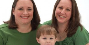 Left: Ashley Broadway. Right: her wife, Lt.Col Heather Mack, and their son Carson