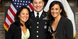 Colonel Espinas with his sisters, Lani Espinas (Left) and Liza Espinas (Right).