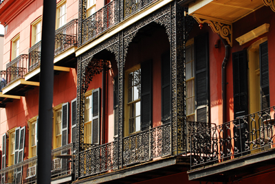 French Quarter balcon, wrought iron
